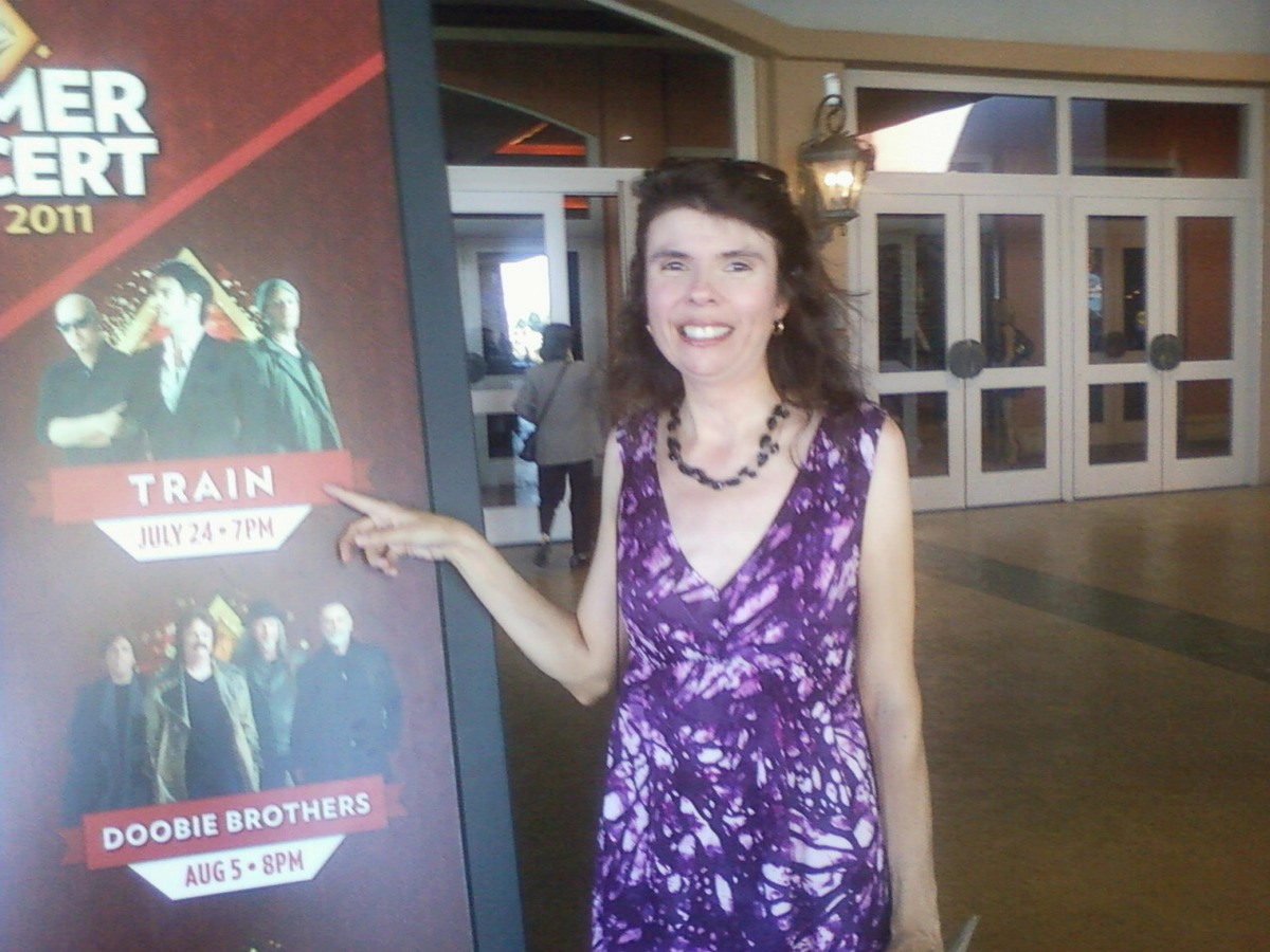 close up of concert posting for train with me in front of thunder valley casino resort 07242011