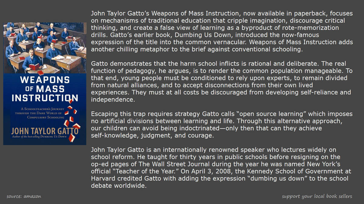 book john taylor gatto weapons of mass instruction
